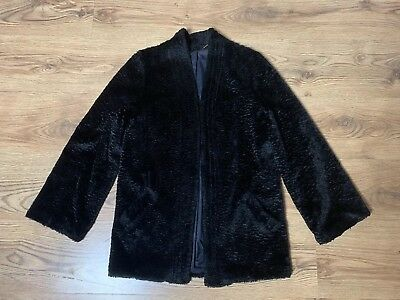Vintage 1970s Chenile Black Jacket Coat Duster