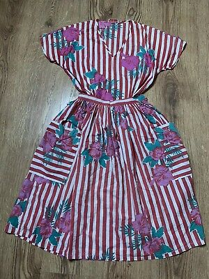 Vintage 1980s MONSOON Cotton Red White Stripe Floral 2 Piece Shirt & Skirt