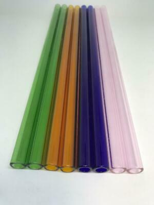 "12"" long 12mm OD 8mm ID  Pyrex Glass Blowing Tubing (8) Pieces 4 COLORS"