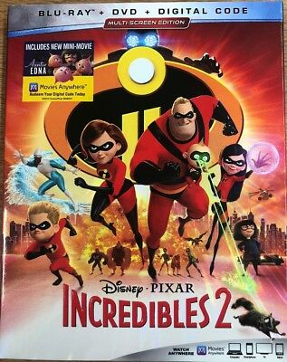 Incredibles 2 (2018) Blu-ray + DVD +Digital Code Brand New Sealed W/Slip Cover