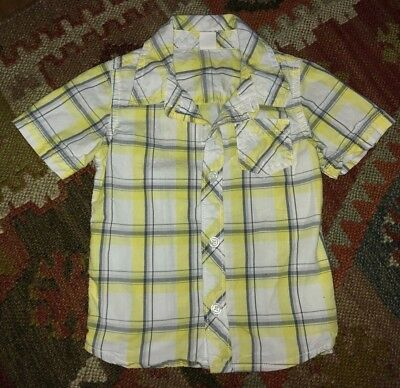 Old Navy toddler boy 18-24 mos. short sleeve button-up Yellow Blue Plaid shirt