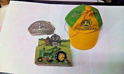 John Deere Collectibles 1983 PEWTER BUCKLE, BUSINESS CARD HOLDER, XMAS MINI HAT