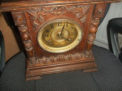 Vintage Antique Ansonia  New York USA Wooden Cased Mantel 8 Day Clock