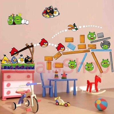 Set of Angry Birds Lot Wall Decor Vinyl Sticker Decal Removable Nursery Art Free