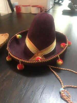 Two Wonderful Antique Mexican High Crown Sombreros Salesman Samples