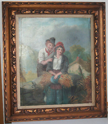 Antique 18~19th Century Italian Oil Painting O/C Lover Chatting at Wheat Harvest