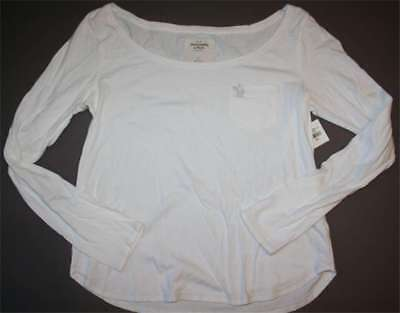 32b48f87439 NWT Abercrombie & Fitch womens white cotton long sleeve sexy tank t shirt  top S