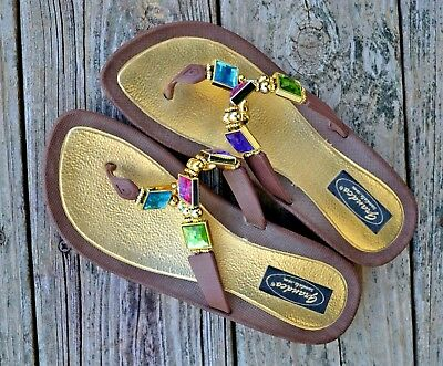 f3835355e0ffcb GRANDCO SANDALS Dressy Beach Pool THONG BLING Brown Frosted JEWELED Flip  Flops