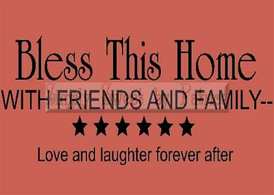 BLESS THIS HOME Vinyl Wall Saying Lettering Quote Decoration Decal Sign Craft