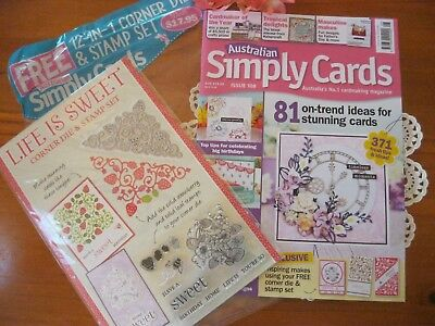 "BNIP Simply Cards,Issue 108 Magazine & ""Life Is Sweet""Corner Die & Stamp Set.NEW"