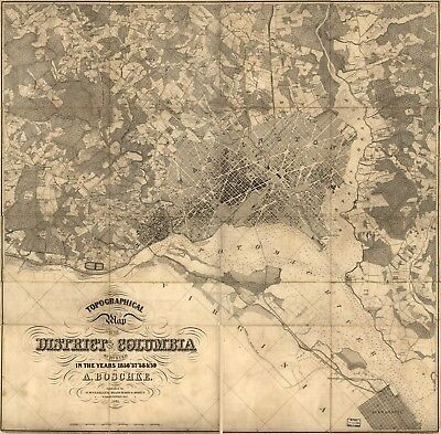 A4 Reprint of American Cities Towns States Map District Of Columbia