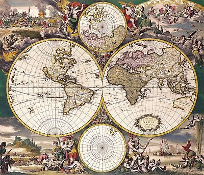 A4 Reprint of Old Map Of The World Reprint 10