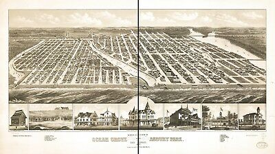 A4 Reprint of American Cities Towns States Map Ocean Grove Asbury Park