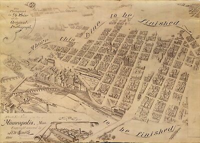A4 Reprint of American Cities Towns States Map Minneapolis Minnesota