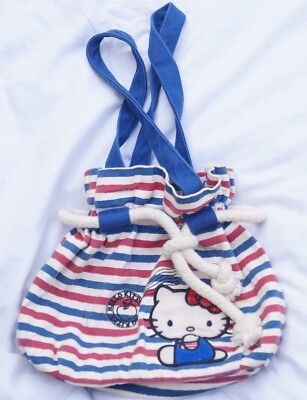 Hello Kitty Purse Rope Satchel Sanrio Red White Blue Pouch Bag