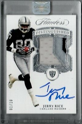 2017 Flawless Jerry Rice 3 Color Game Used Patch Auto Autograph #d 1/10 Raiders
