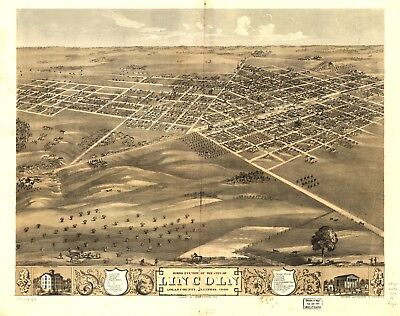 A4 Reprint of American Cities Towns States Map Lincoln Illinois