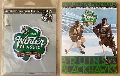 2019 Winter Classic Game Program & Patch Combo Two (2) Nhl Bruins Blackhawks