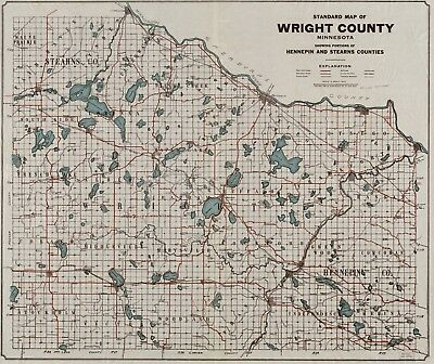 A4 Reprint of American Cities Towns States Map Wright County Minnesota