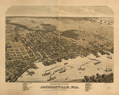 A4 Reprint of American Cities Towns States Map Jacksonville Florida