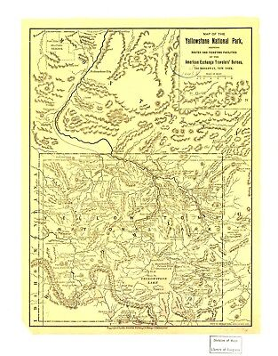 A4 Reprint of American Parks Islands Map Yellowstone Park