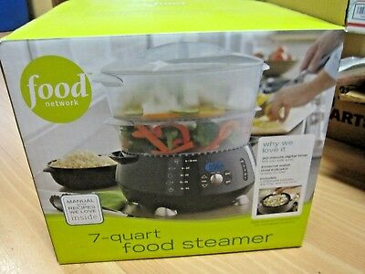 7-Quart ELECTRIC STEAMER Food Network 2 stackable baskets/rice bowl Exc Cond