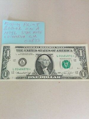 1974L STAR NOTE ERROR!  Federal Reserve notes 011833 PAPER MONEY