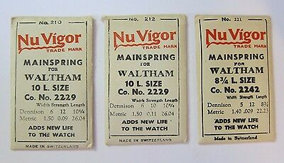 Lot of 3 Waltham mainspring  Watchmaker Parts NOS