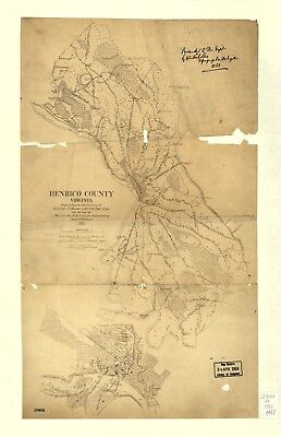 A4 Reprint of American Cities Towns States Map Henrico County Virginia