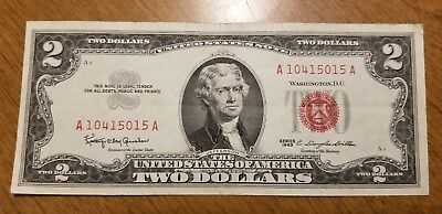 1963 $2 Bill Red Seal Note Currency United States Dollar 10415015