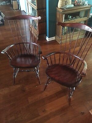 Nichols and Stone Antique Early American Sack Back Cherry Windsor Wooden Chairs