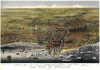 A4 Reprint of Map 1874 Birds Eye View City Chicago In Very High Detail