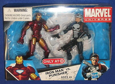 """Marvel Punisher vs Iron Man 4"""" Action Figure 2-Pack 2009 MIB Universe Exclusive"""