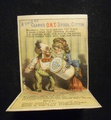 """Antique Vtg """"A Tale of CLARK'S O.N.T. Spool Cotton"""" - * MECHANICAL Trade Card*"""