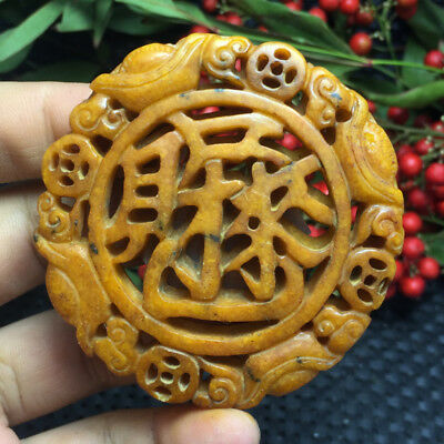 53g Old China Hand-carved jade Nobility wear amulets Pendant collect  a13