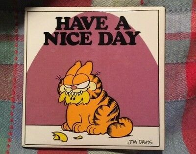 "Vintage GARFIELD ""Have A Nice Day"" Tile Plaque Table Desk Decor ENESCO"