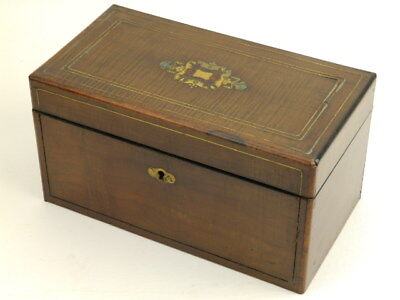 Antique English Wood & Brass Inlay Tea Caddy Box 2 Compartments