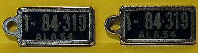 1954 Alabama 1-84-319 Dav Keychain Mini License Plate Tags (Total Of Two)