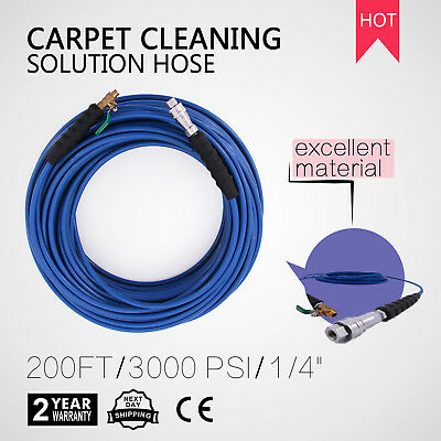 """60M Carpet Cleaning Solution Hose 1/4"""" Steel Braided 200Ft New 275 Degree"""