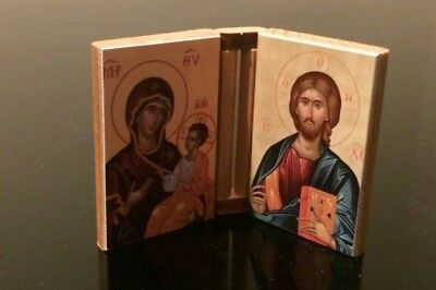 Icon Pair, Byzantine/Orthodox, Wooden, Jesus and Mary
