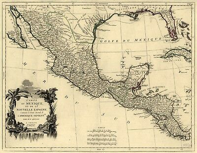 A4 Reprint of Mexican Map Mexico