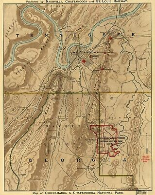 A4 Reprint of USA Cities Towns States Map Battlefield Chickmauga Georgia