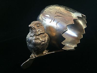 Antique Silver plate Napkin Ring With Baby Chick On Wishbone