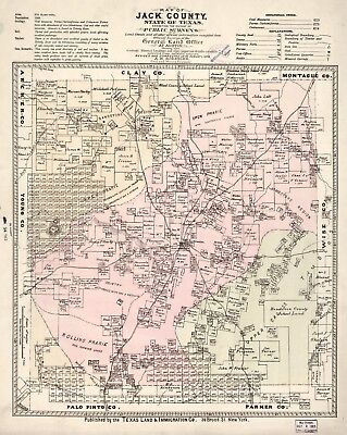 A4 Reprint of American Cities Towns States Map Jack County Texas