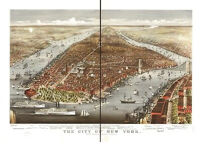 A4 Reprint of American Cities Towns States Map New York