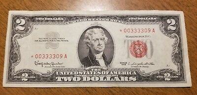 1963 $2 Bill Red Seal Star Note Currency United States Dollar 00333309