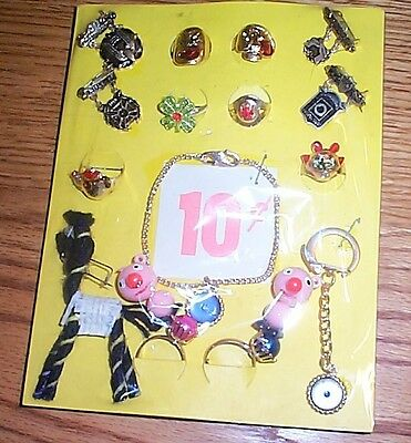 Vintage gumball machine display card 10c rings & toys & key chains #21