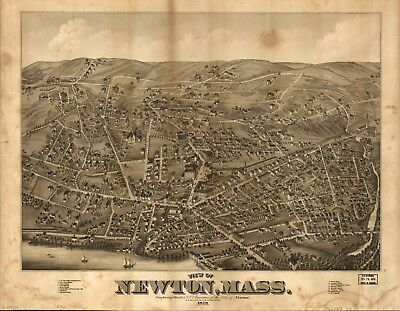 A4 Reprint of American Cities Towns States Map Newton Mass