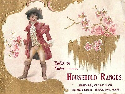 Antique Vintage Trade Card Household Ranges - Colonial Boy - Gold - Gilded*
