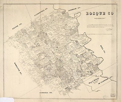 A4 Reprint of American Cities Towns States Map Bosque County